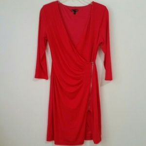 express red v neck dress zipper Waist Gathered sp
